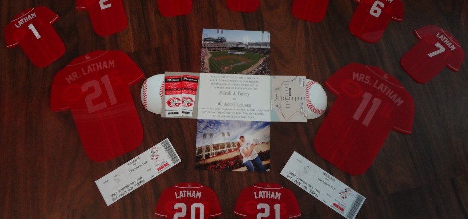 Cincinnati Reds Themed Wedding Invitation And Table Toppers